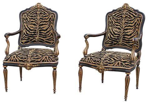 pair of italian antique black and gold painted armchairs
