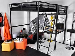 Lit Mezzanine Double : lit mezzanine casual ii 2 personnes bureau option matelas ~ Premium-room.com Idées de Décoration