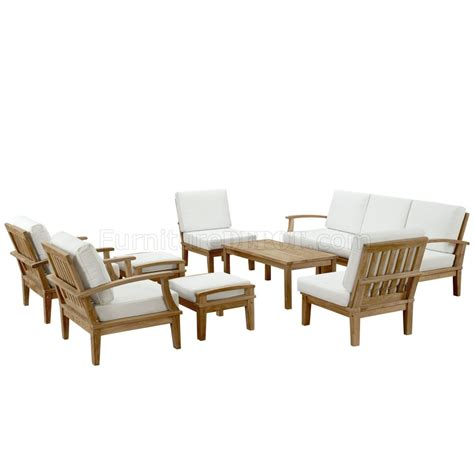 marina outdoor patio sofa 10pc set in solid wood by modway