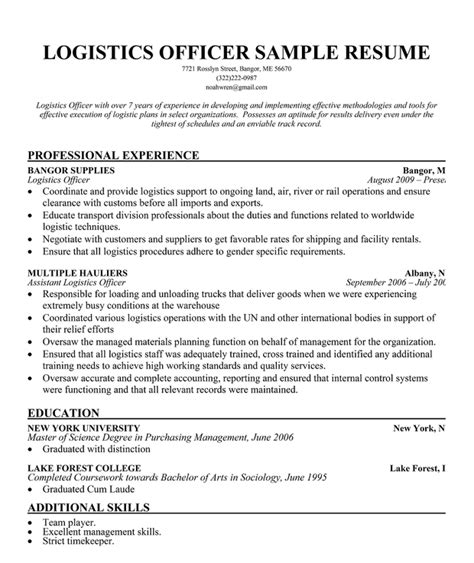 pin logistics resume templates exles on