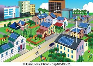 Clipart Vector of Green environment friendly city scene ...