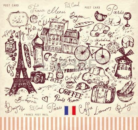 la france art inspiration hand drawn cards postcard