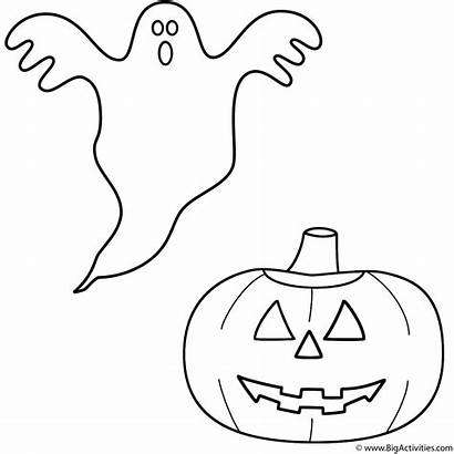 Ghost Coloring Halloween Pages Pumpkin Lantern Happy