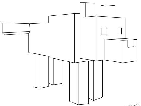 coloriage minecraft loup dessin