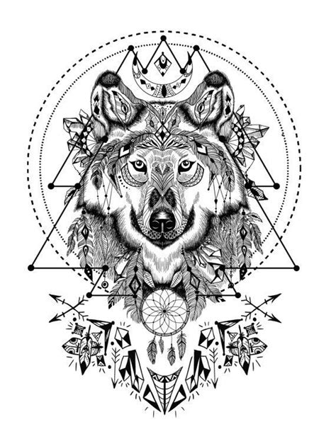 wolf coloring book boho wolf with sacred geometry coloring book page