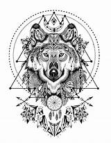 Wolf Coloring Pages Mandala Adult Tattoo Animal Spirit Tattoos Sacred Geometry Native American Printable Boho Animals Books Crystal Wild Geometric sketch template