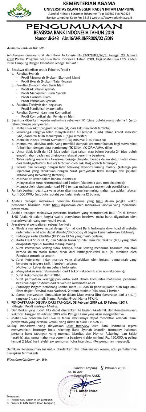 Beasiswa Bank Indonesia Tahun 2019 – Ekonomi Syariah