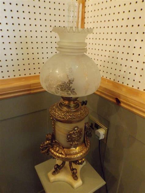 victorian duplex oil lamp converted  electric la