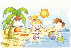 Children Play By The Beach On Sunny Day Stock Vector Art ...