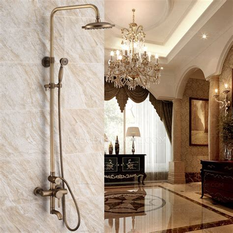 Luxury Antique Brass Outside Wall Mount Shower Faucet System