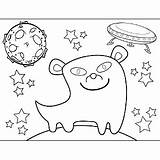 Saucer Flying Alien Smiling Space Coloring Printable sketch template