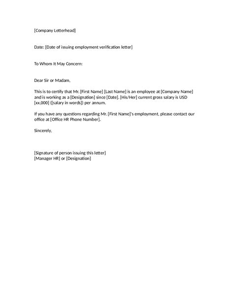 letter of employment 2018 proof of employment letter fillable printable pdf 89654