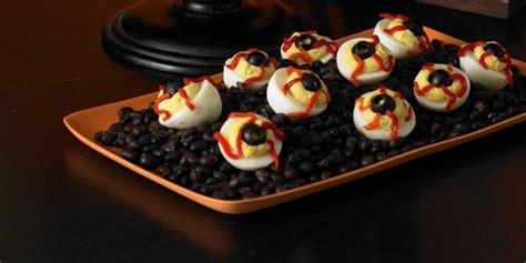 bloodshot deviled eyeballs  womans day halloween recipes