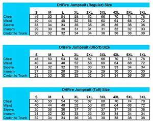 Drifire Coverall Sizing Chart