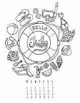 Journal Bullet Calendar Printables July Coloring Enregistree Depuis sketch template