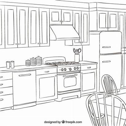 Kitchen Interior Vector Coloring Pages Colouring Adult