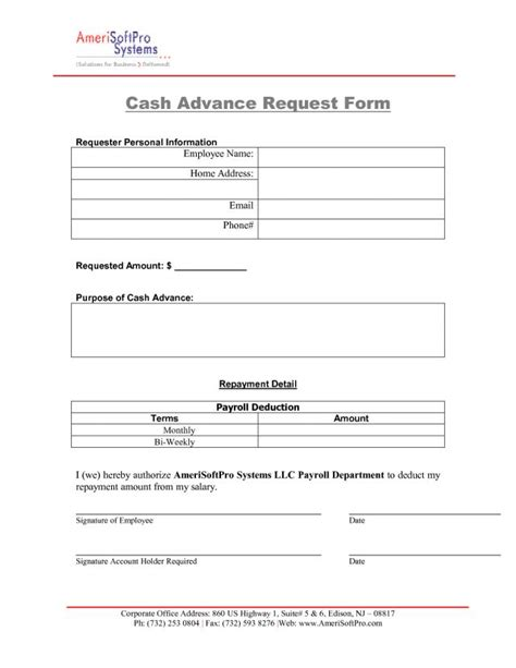 sample employee cash advance form