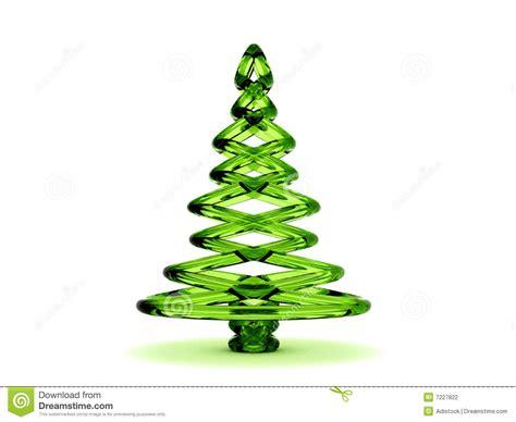 3d green glass christmas tree stock photography image