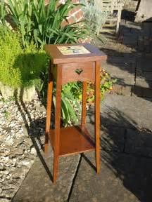 arts crafts oak plant stand  tile liberty