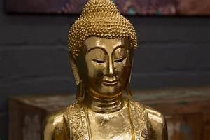 Buddha Figur Groß : buddha statue stehend gold gro 115cm holz figur skulptur ~ Michelbontemps.com Haus und Dekorationen