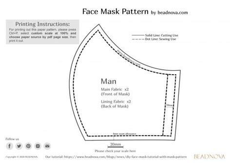 printable face mask pattern beadnova