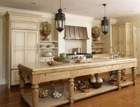 Elegant Kitchen Furnished With Narrow Farmhouse Table
