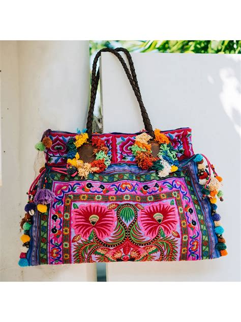 purple floral boho large beach tote bag  women  colorful hairs