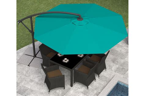 offset patio umbrella in turquoise blue