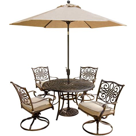 Umbrella And Table Set by Traditions 5 Dining Set With Swivel Chairs And