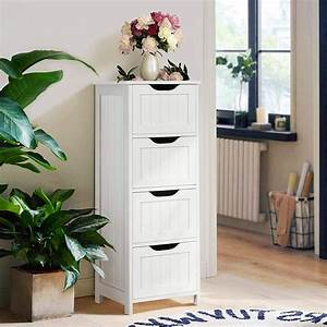 Zimtown, Bathroom, Cabinet, With, 4, Drawers, Free-standing, Bathroom, Storage, White