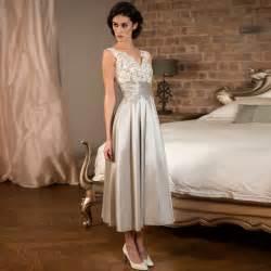 cheap tea length wedding dresses tea length silver lace satin bridesmaid dresses for wedding v neck