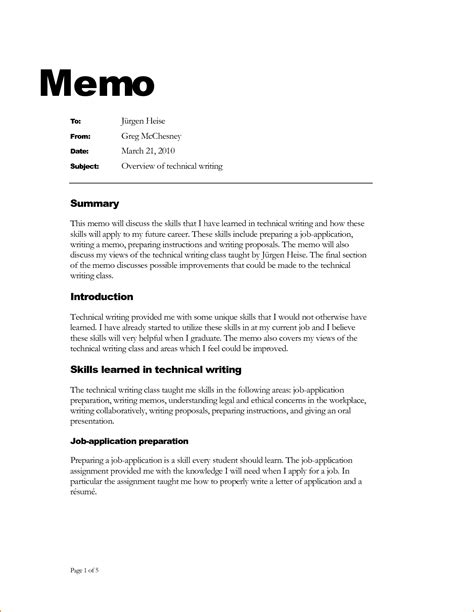 Template For Writing A Memo how is a business memo format written
