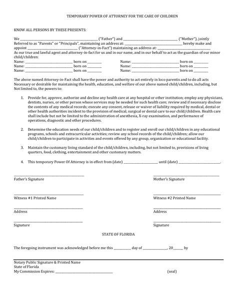 florida minor child power  attorney form