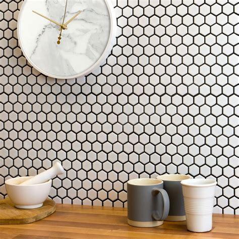 mosaic kitchen tile backsplash white hexagon matt tiles bijou hexagonal mosaic tiles