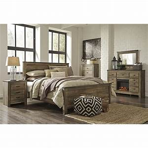 Ashley trinell 5 piece queen panel bedroom set in brown for Ashley furniture 5 pc bedroom sets