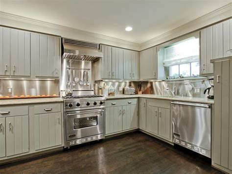 Gray Paneled KItchen Cabinets   Cottage   kitchen