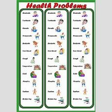 English Worksheets Health Problems Bookmark