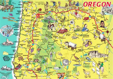 oregon tourist map  oregon trail pinterest oregon
