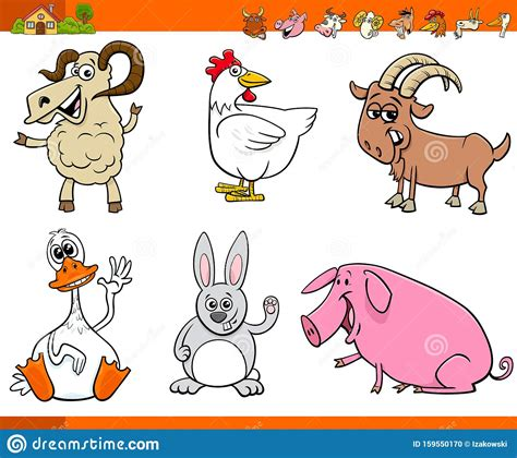 Good luck — the stickman is counting on you! Funny Farm Animal Cartoon Characters Set Stock Vector ...