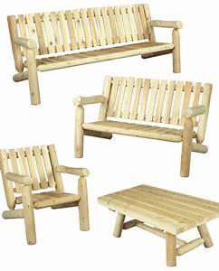 Canapé Jardin Bois : salon de jardin en bois fauteuil et canap n 5 c dre rondins ~ Teatrodelosmanantiales.com Idées de Décoration