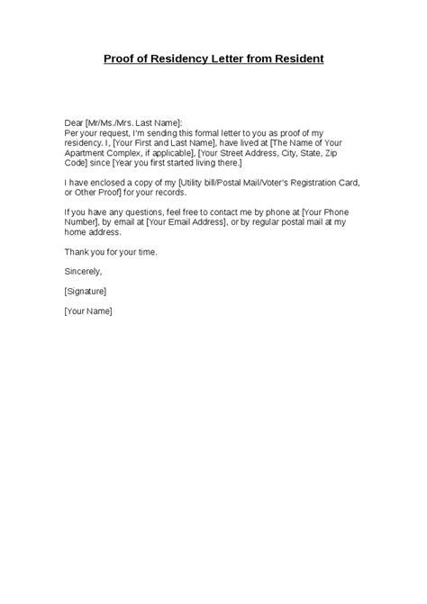 proof  residency letter  landlord
