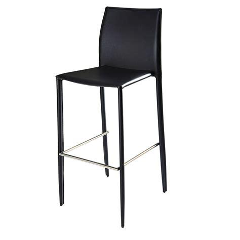 chaise de bar noir chaise de bar en synderme noir klint maisons du monde