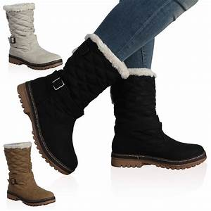 DD15 WOMENS QUILTED LADIES FAUX FUR GRIP SOLE WINTER SNOW ...