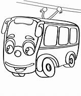 Coloring Pages Trolleybus Trolley Bus Tram Taxi Print sketch template