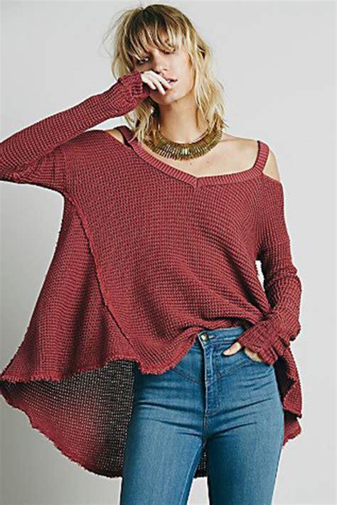 Sweater red knitwear warm cozy fashion style cool oversized sweater fine knit jumper ...