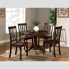 5 Pc Round Table Dinette Kitchen Table & 4 Wood Or Padded
