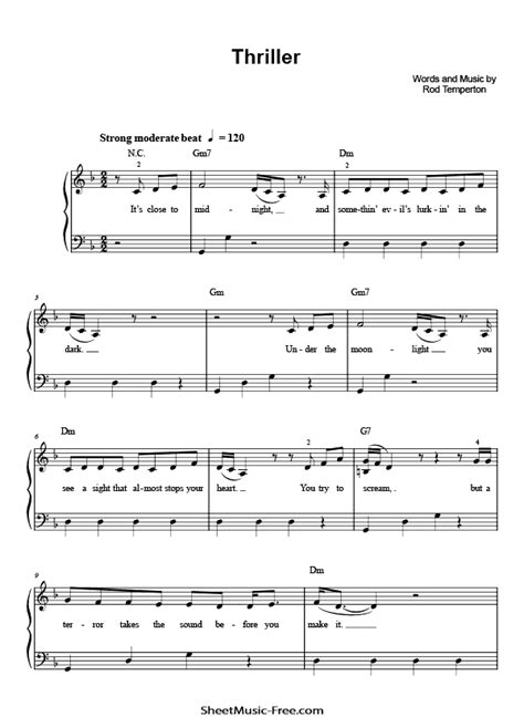 Find your favorite song below! Thriller Sheet Music Michael Jackson Easy Piano | ♪ SHEETMUSIC-FREE.COM
