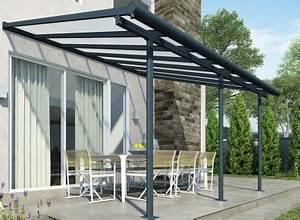Couverture De Terrasse : couverture terrasse aluminium gris et toit transparent ~ Edinachiropracticcenter.com Idées de Décoration