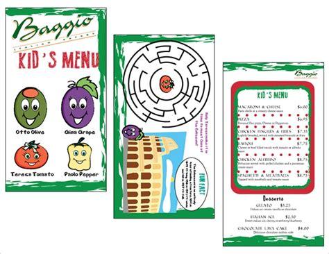 sample kids menu templates sample templates
