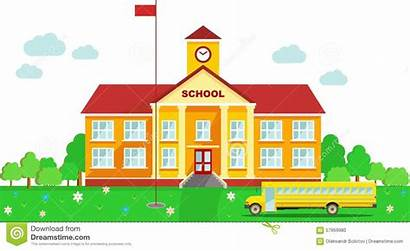 Building Background Clipart Schulhaus Panoramic Vector Bus